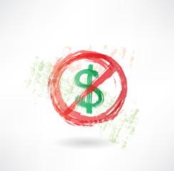 ban dollar grunge icon