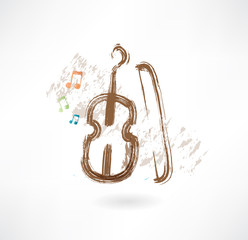 violin with a bow grunge icon