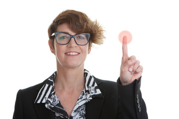 business woman pressing red button