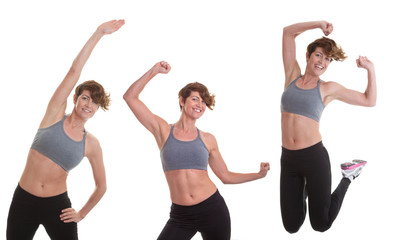 young fit healthy woman exercising