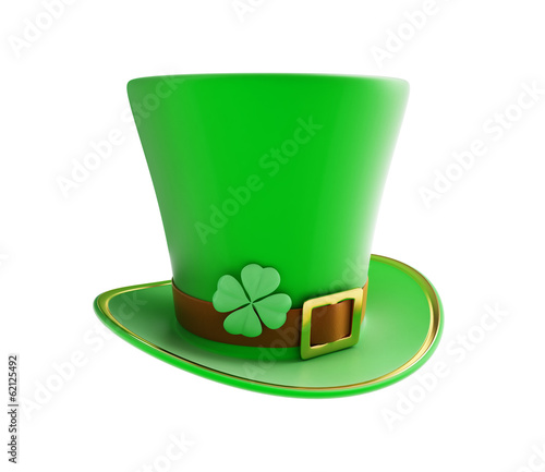 St. Patrick's day green hat on a white background
