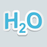 Formula of water H2O sign sticker. Vector illustration.