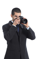 Photographer photographing with a digital dslr camera