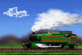 Landscape with steam locomotive