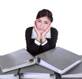 business woman with folder documents on desk