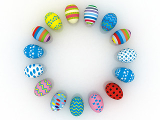 3d Colorful Easter eggs in the shape of a circle, with a place f