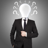 businessman with bulb head surrounded by questions