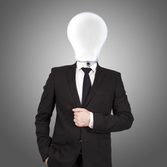 businessman with bulb head concept of creativity and ideas