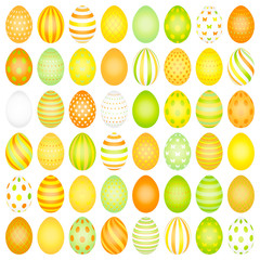 48 Slim Easter Eggs Pattern Green/Yellow/Orange