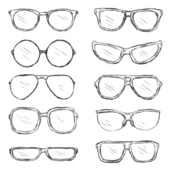 Vector Set of Sketch Eyeglass Frames