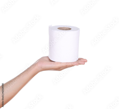 hand with toilet paper roll isola