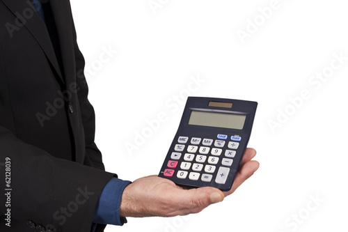 businessman holding calculator in hand on white background