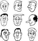 cartoon men characters heads set