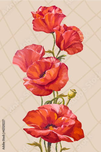 Oil painting. Card with poppies flowers