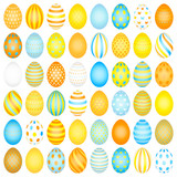 48 Slim Easter Eggs Pattern Blue/Yellow/Orange