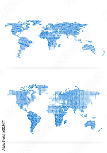 World map halftone set
