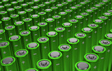 Green rows of batteries