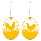 2 Hangtags Easter Rooster Chicken Meadow Orange