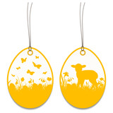 2 Hangtags Easter Lamb Meadow Orange