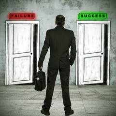 businessman in front of the doors of success and failure