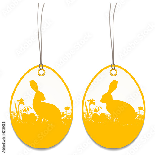 2 Hangtags Easter Bunny Meadow Orange