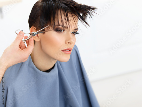 Brown Hair. Hairdresser Cutting Woman's Hair in Beauty Salon.