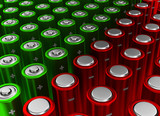 Red and green rows of alkaline batteries