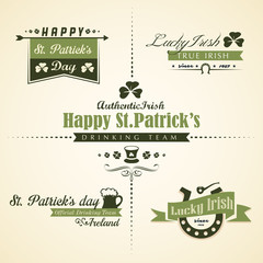 Vector set of Saint Patricks Day ornaments and decorative elemen