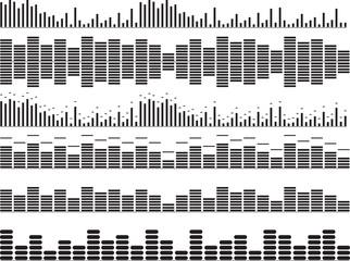 Set of black music equalizer illustrated on white