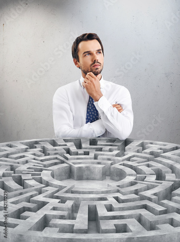 businessman and maze
