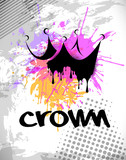 grungy abstract crown with colorful splash