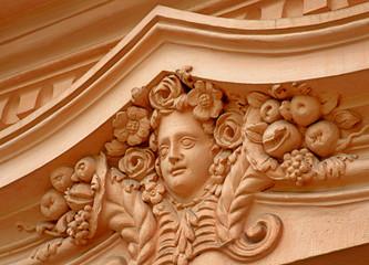 Barockes Stuckornament (Maskaron)  / Schloss Favorite, Rastatt