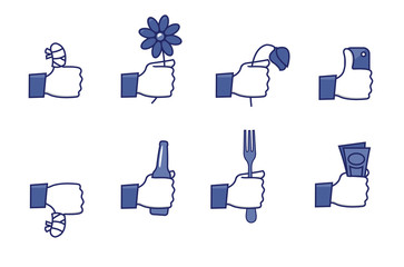 Social network hands set - part 2