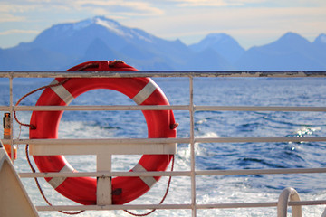 Life buoy on the fjord