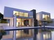 canvas print picture - Modern house with pool