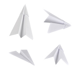 Set of real photos on paper planes. Isolated on white background