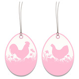 2 Hangtags Easter Rooster Chicken Meadow Rose