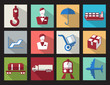 set color flat design icons cargo business