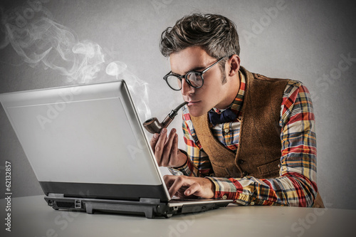smoking man with computer