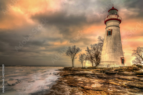 Fotobehang Vuurtoren / Mill Marblehead Lighthouse HDR