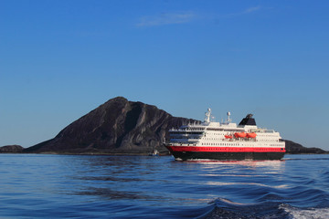 coastal ship on the coast of Northern Norway