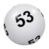Loto, boule blanche numéro 53