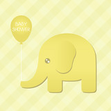 Yellow Elephant Babyshower Illustration
