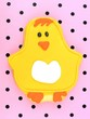 Easter chick cookie on a pink background
