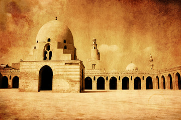 Old effect of mosque ibn tulun , cairo, egypt