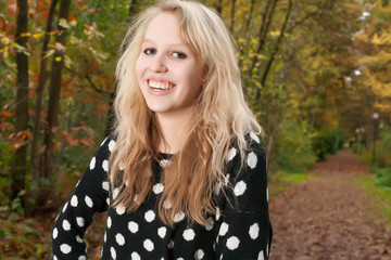 Smiling ten in the autumn