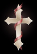 Easter Cross with Red Ribbon