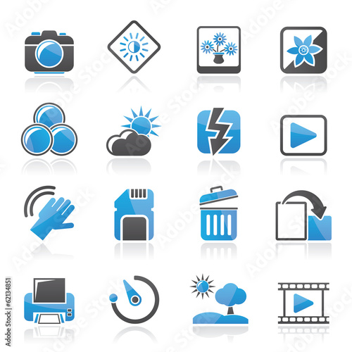 Photography and Camera Function Icons  - vector icon set