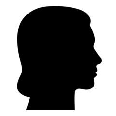 Weiblicher Kopf seitlich im Profil – Vektor und freigestellt