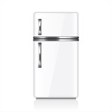White retro fridge vector illustration